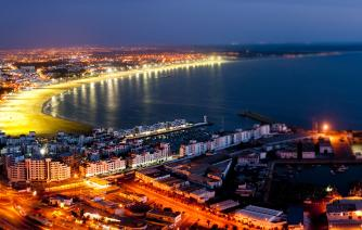 beach of agadir city in the night tourism in morocco