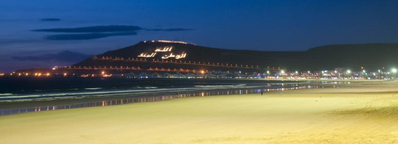 agadir beach in the night tourism in morocco