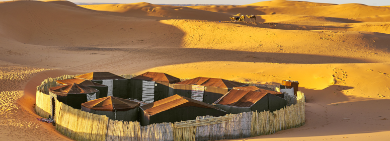 Tents in the middle of the Moroccan Sahara desert tourism