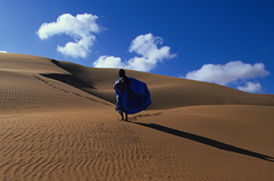 bleu sky in the middle of the moroccan desert tourism