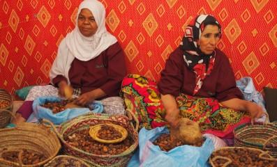 craftswomen prepare the argan oil
