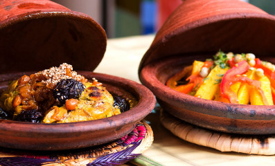 Morocco typical dish meat an vegetable in a tajine