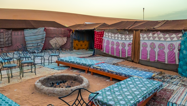 Tents and bivouacs in the moroccan sahara